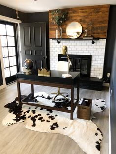 Moody Home Office with a fun play on textures and cowhide! Office Interior Design, Home Office Decor, Office Interiors, Office Ideas, Home Decor, Gray Home Offices, Office Nook, Office Set, Wood Writing Desk