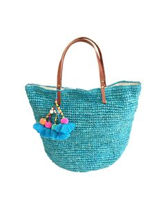 114449bd3fae Turquoise Woven Straw Beach Bag Turquoise Straw Basket Large Beach Bags