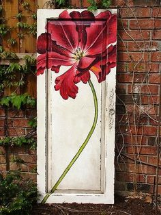Paint on an old door.