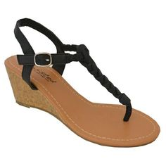 sandals: Twisted Women's Riley Gladiator Braided T-strap Low Wedge Sandal - BLACK, Size 9 Low Wedge Sandals, Low Wedges, Wedge Shoes, Shoes Sandals, Flats, Prom Shoes, Wedding Shoes, Cute Shoes, Me Too Shoes