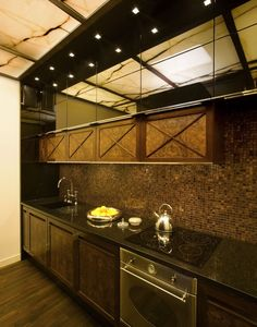 Brązowa kuchnia z mozaiką - Architektura, wnętrza, technologia, design - HomeSquare