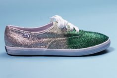 Do-It-Yourself glitter shoes- I know the green is ugly as heck, but just the gold would be FABULOUS.