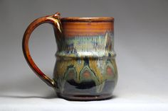 Pottery coffee mug 10oz hand thrown stoneware by DrostePottery