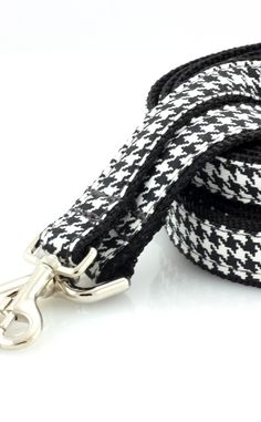 """houndstooth classic leash // cotton twill black and white houndstooth // 3/4"""" or 1"""" wide"""