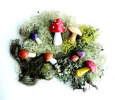 Painted clay mushroom collection and moss from buffalogirls @ etsy