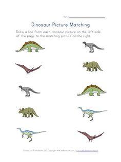 Dinosaurs Matching Worksheet