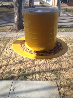 My homemade bird feeder. Made from a coffee can, plastic plate and a little spray paint :-) Metal Bird Feeders, Bird Feeder Plans, Diy Bird Feeder, Homemade Bird Houses, Homemade Bird Feeders, Bird Houses Diy, Woodworking In An Apartment, Small Woodworking Projects, Woodworking Kits