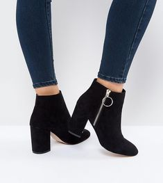 Faith Wide Fit Weryn Ring Detail Black Ankle Boots - Black