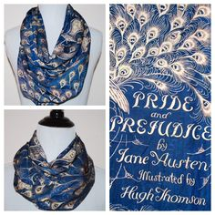Jane Austen, Pride and Prejudice, Book Cover Circle Scarf, Infinity Scarf by SassySkirtsForGals on Etsy