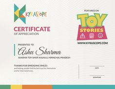 Kyrascope Certificate of Appreciation for Toy Shop owners
