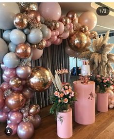 pink and gold party decor. Great for a birthday, bachelorette, bridal, or even a baby shower. Baby Shower Decorations, Wedding Decorations, Parties Decorations, Baby Decor, 18th Birthday Party Ideas Decoration, Baby Shower Pink, Baby Girl Birthday Decorations, Sweet Sixteen Decorations, Sweet Sixteen Themes