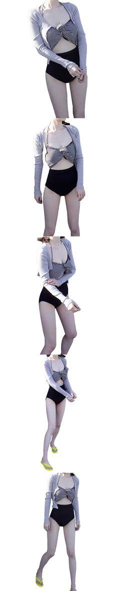 Sexy Split Swimsuit Female High Waist Triangle Bikini Three - piece Suit Long - sleeved Blouse Beach Swimwear $22.77
