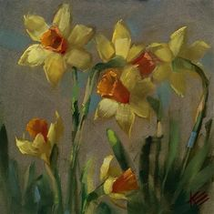 """Daily Paintworks - """"Daffodil Delight"""" - Original Fine Art for Sale - © Krista Eaton"""