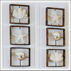 Love these Seaside Inspired | shell shadow boxes from seasideinspired.com.  Now to find a way to make them.  Frames are wrapped with rattan.