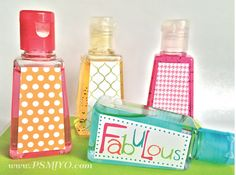 Free printable travel size hand sanitizing gel lables. Great party favors! from www.PSMIYO.com