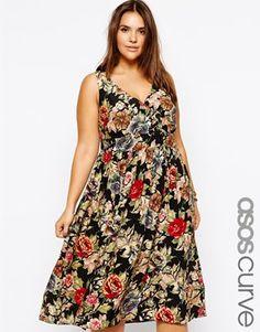 ASOS CURVE Exclusive Midi Dress In Tapestry Print