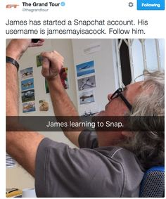 James May learning Snapchat from The Grand Tour twitter