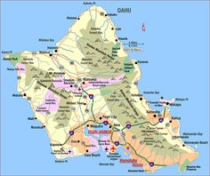 Road Map of Oahu, Hawaii. On first trip maybe take a guided tour, but on a second trip to Oahu I highly recommend renting a car and going around the whole island. Don't forget to stop for some famous shaved ice. Honolulu Hawaii, Hawaii 2017, Aloha Hawaii, Hawaii Travel, Kauai, Travel Usa, Hawaii Pics, Hawaii Beach, Spain Travel