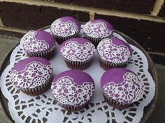 Vintage fondant lace cupcakes #whippedwithlove #sugarlace #mauve