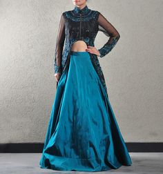PEACOCK BLUE SILK AND BLACK COCKTAIL GOWN