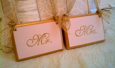 Wedding Signs GLITTERED In Your Wedding Colors Mr & Mrs Chair Hangers Bling Wedding Gold Wedding FAIRYTALE WEDDING. $37.00, via Etsy.