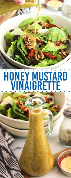 Easy honey mustard vinaigrette is made with kitchen staples and horseradish for a kick. Ditch store-bought salad dressing with this customizable recipe!