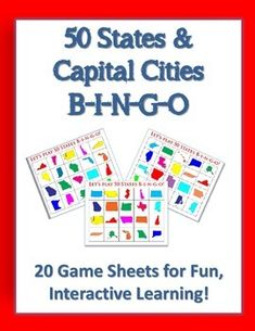 Would you like a fun, challenging way to teach students the fifty states and capital cities? This set of 25 FULL-COLOR Bingo game sheets will do just that! I have used this packet primarily with middle school 6th grade students, but I believe it can be modified to work with upper elementary school students, too. Please download the preview file to see if this packet is right for your students.