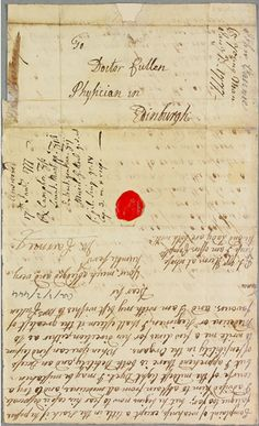 The Consultation Letters of Dr William Cullen at the Royal College of Physicians of Edinburgh (RCPE). A Glasgow University Digital Edition. History Websites, Edinburgh University, Dr Williams, Letter Games, The Cullen, Old Letters, Medical College, Medical History, Water Treatment