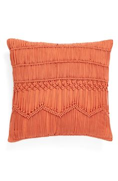 "- Richly textured macramé knots enhance the bohemian charm of a stylish square accent pillow. - 16"" square. - Hidden zip closure. - Cotton with polyester fill. - Spot clean. - By Nordstrom at Home; im"