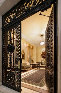 Joan Rivers New York apartment. The cast iron gates add some privacy.