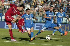 Alibin Ekdal of Cagliari Calcio scores the opening goal during the Serie A match between Empoli FC and Cagliari Calcio  at Stadio Carlo Castellani on October 25, 2014 in Empoli, Italy.