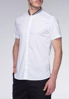 5771ea96b79 Oversized cotton shirt with contrast mandarin collar