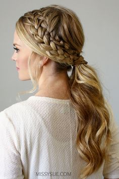 20 Fabulous Easy French Braid Ponytail Hairstyles to DIY - Styles Weekly French Braid Ponytail, Braided Ponytail Hairstyles, Pretty Hairstyles, Straight Hairstyles, Ponytail Ideas, Hairstyle Ideas, Cheer Hairstyles, Plait Hair, Fancy Ponytail