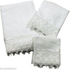 NEW 6 PIECE MACRAME LACE BATH TOWEL SET   WHITE