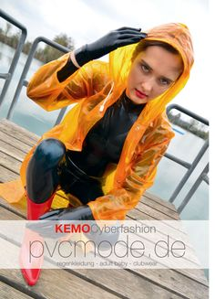 Transparent Orange PVC Raincoat in combination with a Latex Catsuit - what a super shiny hot style ....