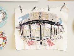 Marna Lunt: Betty's Harrogate giclee print Embroidery Needles, Embroidery Applique, Free Hand Drawing, Sewing Appliques, Free Motion Quilting, Mark Making, Fabric Art, Artist At Work, Sewing Projects