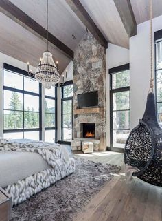 Cozy mountain retreat with Scandinavian vibe on beautiful Lake Tahoe - selber ma. - Cozy mountain retreat with Scandinavian vibe on beautiful Lake Tahoe – selber machen – - Dream Rooms, Dream Bedroom, Home Bedroom, Bedroom Decor, Bedroom Ideas, Bedroom Storage, Kids Bedroom, Bedroom Furniture, Master Bedroom Plans