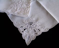 "8 Vintage Point De Venise Lace Embroidered Italian Dinner Napkins 15.5"" Sq White | eBay"