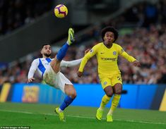 Martin Montoya (left) produces an acrobatic clearance to clear the ball from Chelsea forward Willian Brighton, Premier League Champions, Football, Chelsea Fc, Manchester City, Seasons, Running, Sports, Soccer