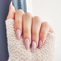31 pretty nude nail ideas : Nude and glitter nail art #nails