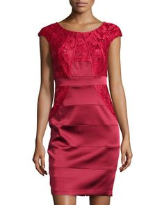 Sequin Lace-Bodice Cocktail Dress, Red by JAX at Neiman Marcus Last Call.
