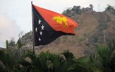PNG Flag flying high and proud