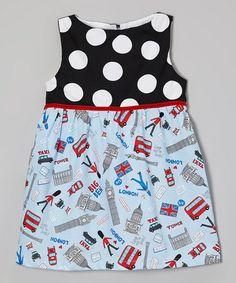 Black Polka Dot London Tour Dress - Toddler & Girls by Wonder Me #zulily #zulilyfinds
