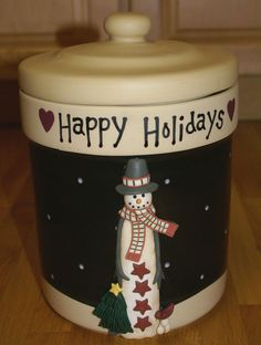Certified International Midnight Snowman Happy Holidays Cookie Jar Canister CIC #CICCertifiedInternationalCorp #CertifiedInternational