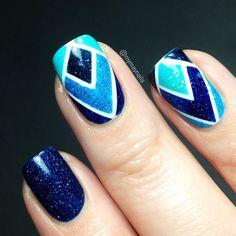 Shades of blue geometric stripe nail art. #manicure #SoCutex