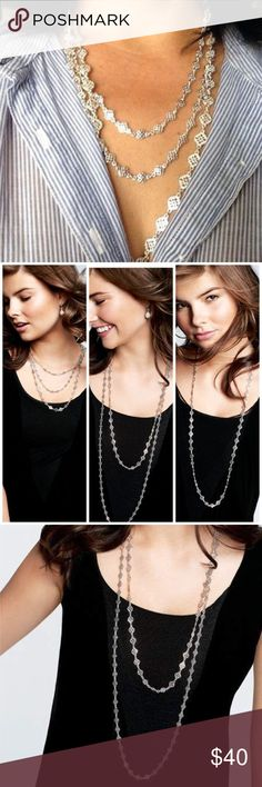 """Stella & Dot Silver Devon Necklace The ultimate versatility necklace with five unique styling options. Wear it long, double up for twice the fun or unclip and remove a strand. Shiny silver polishes any look new condition! With box  68.5"""" total length.  Spring clasp closure. Stella & Dot Jewelry Necklaces"""