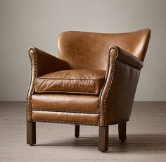 RH's Professor's Leather Chair With Nailheads:Our petite leather chair offers style on a very intimate scale, yet offers all the presence – and comfort – of its oversized kin.