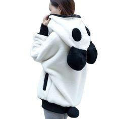 OB Cute Bear Ear Panda Winter Warm Hoodie Coat Women Hooded Jacket Outerwear