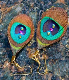Peacock Feather Earrings Aurora Borealis by LostCoastArts on Etsy, $15.00