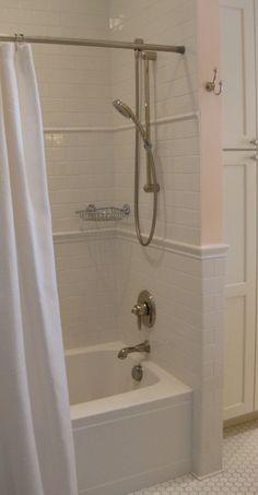 Subway Tile Bath White Bathroom Showers Bat